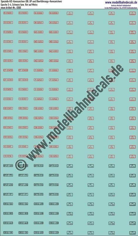 Aufkleber Kfz Kennzeichen Dbbp Schwarz Auf Weiss Und überführungskennzeichen Rot Auf Weiss Artikel Nummer 0360