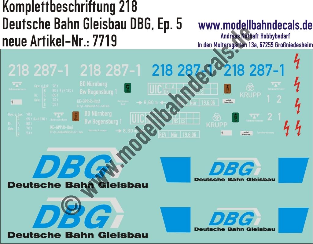 Nass Schiebebilder Lok Komplettbeschriftung 218 Dbg Deutsche Bahn Gleisbau Epoche 5 Artikel Nummer 7719
